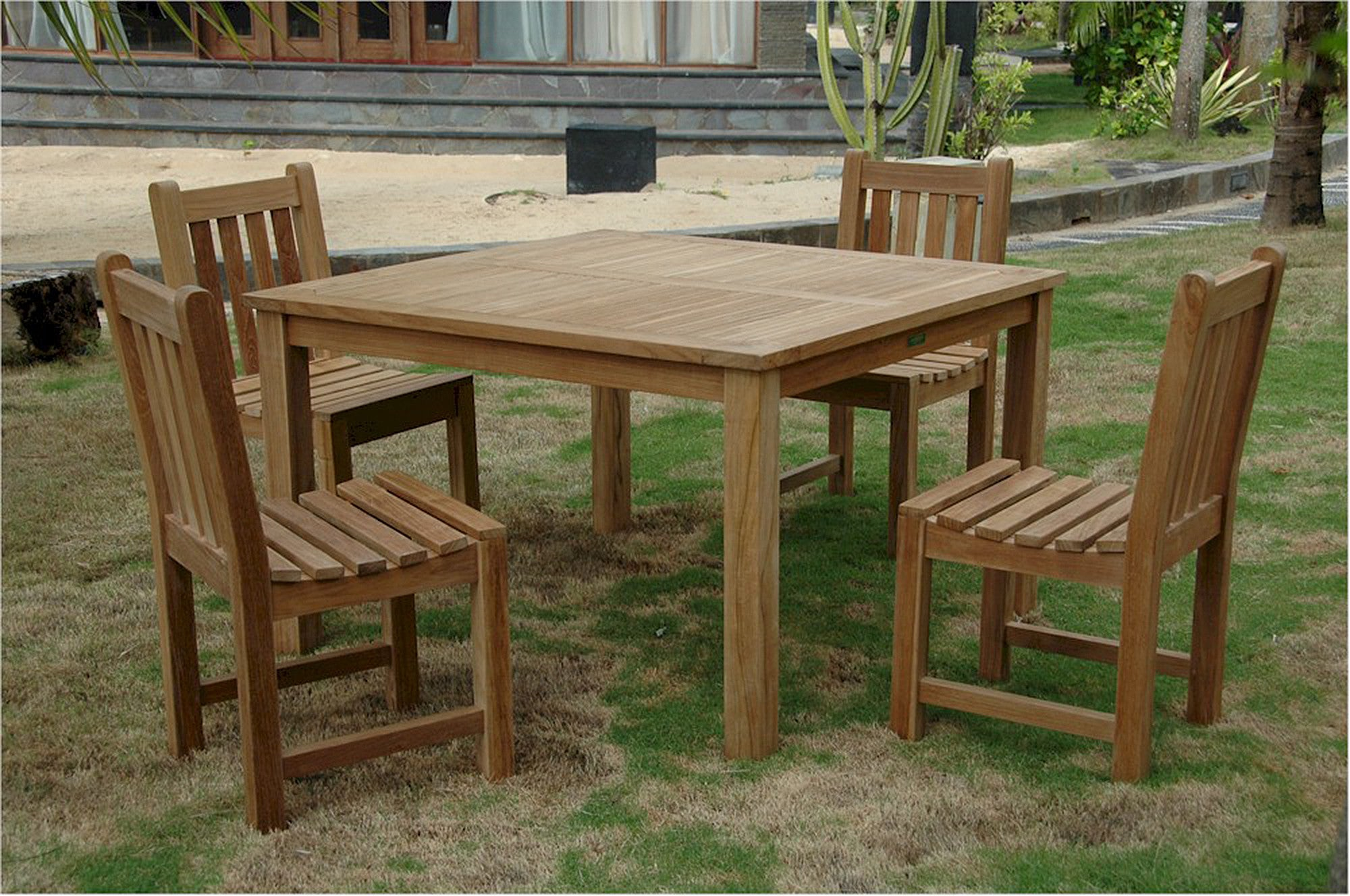 Anderson Teak | Classic Chair & Windsor Table Patio Dining Set for 4 ...