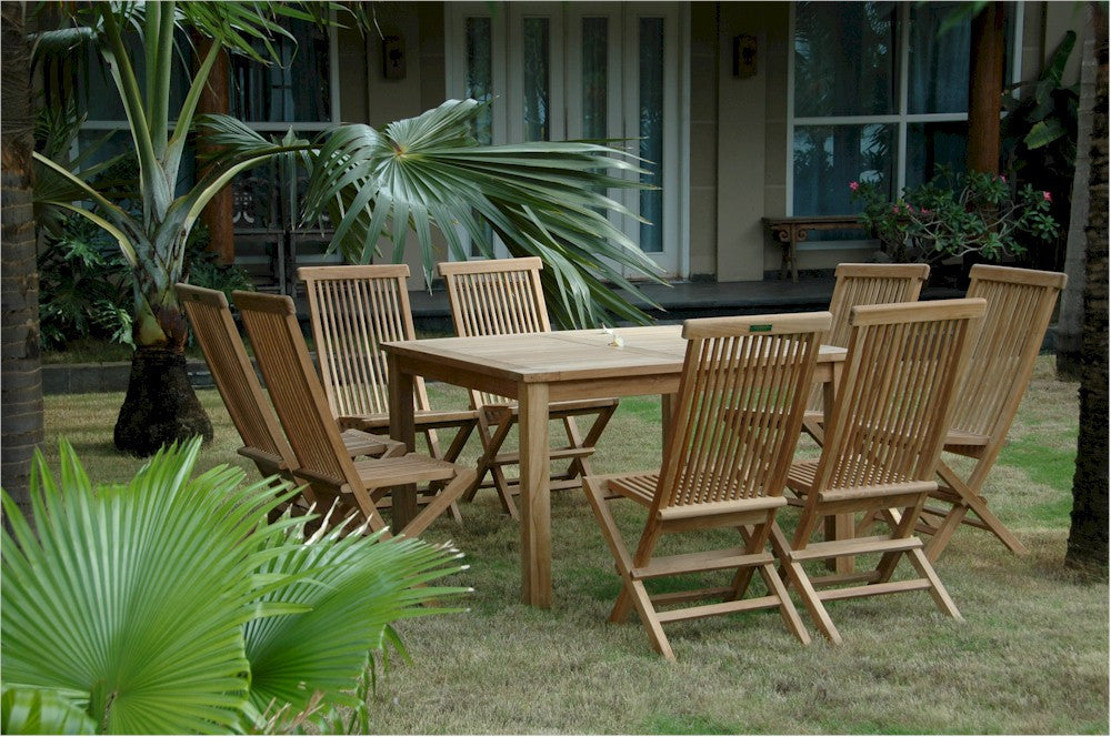 "Anderson Teak | 47"" Square Table & 8 Folding Chairs Set 