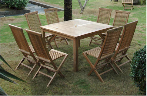 Anderson Pc Windsor Square Table Teak Patio Dining Set Set - Square teak patio table