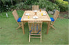 "Anderson Teak | 47"" Square Teak Table w/ 4 Comfort Folding Chairs 