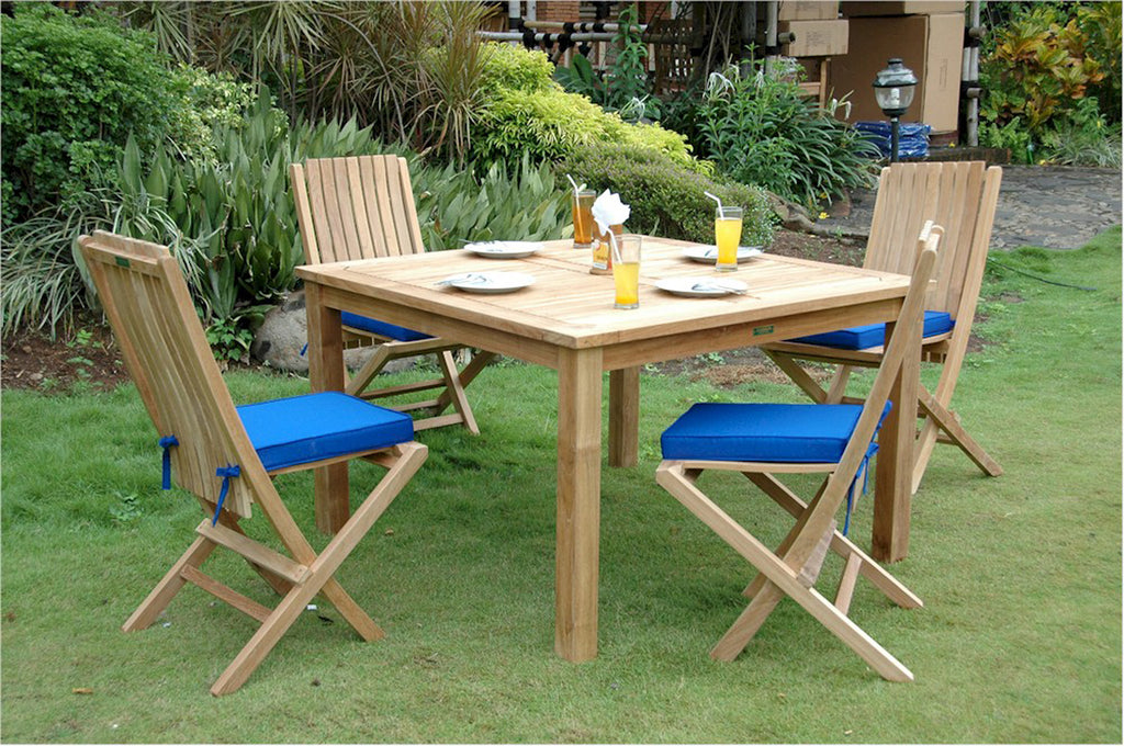 "Anderson Teak | 47"" Square Small Slats Teak Table /6 Folding Chairs 