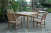 "Anderson Teak | Rialto Dining Armchairs w/ 47"" Square Table Dining Set 