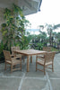 "Anderson Teak | 4 Rialto Dining Armchairs w/ 47"" Square Table Dining Set 