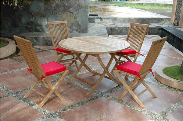"*Anderson Teak | 47"" Round Teak Folding Table & 4 Chairs 