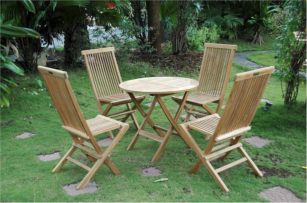 "Anderson Teak | Windsor 31"" Round Folding Teak Table w/ 4 Chairs Bistro Set 