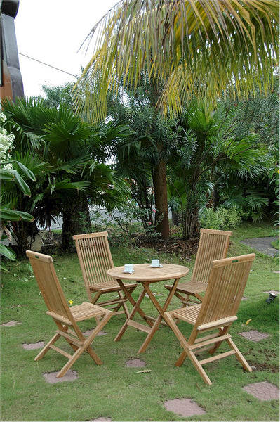 "Anderson Teak | 31"" Round Folding Teak Table & 2 Chairs Bistro Set 