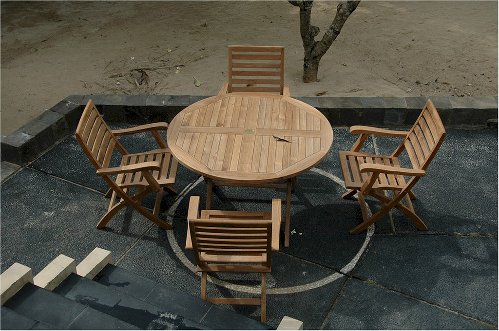 "*Anderson Teak | Bahama 47"" Teak Folding Table w/ Andrew Folding Armchair 