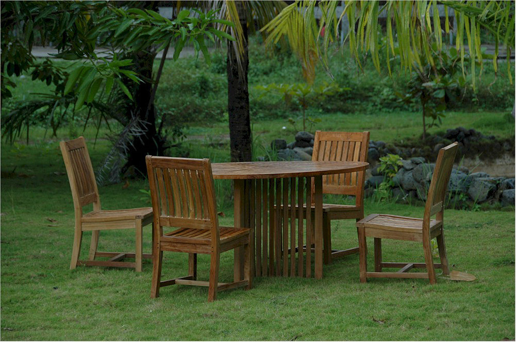 Anderson Teak | Mission Round Table/Rialto Chair Patio Dining Set |SET-110 -  Furniture - Teakwood Central