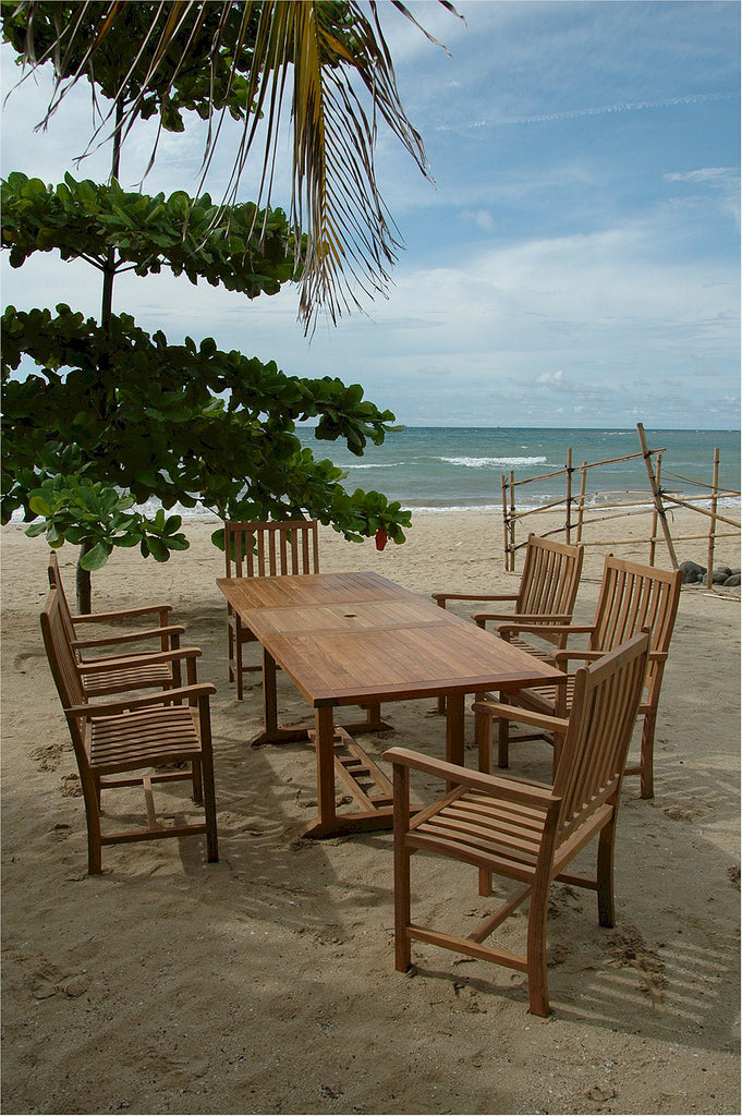 Anderson Teak | Rectangular Table/ 6 Wilshire Armchairs Dining Set |SET-112B -  Furniture - Teakwood Central