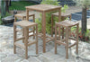"Anderson Teak | Square 27"" Teak Bar Table with 4 Bar Chairs 