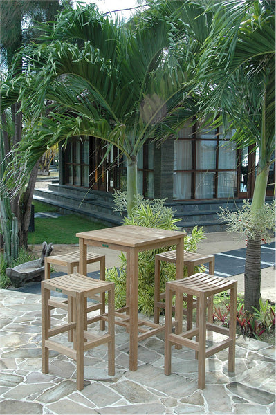 "Anderson Teak | Square 27"" Teak Bar Table 2 Bar Chairs 