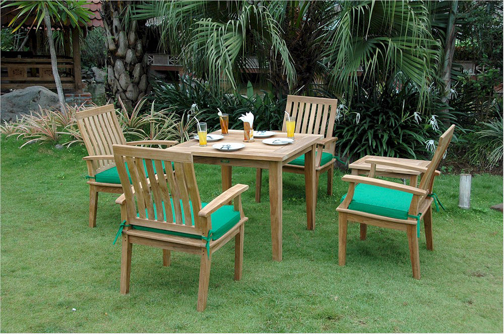 "Anderson Teak | Square 35"" Teak Table/Brianna Armchair Patio Set 