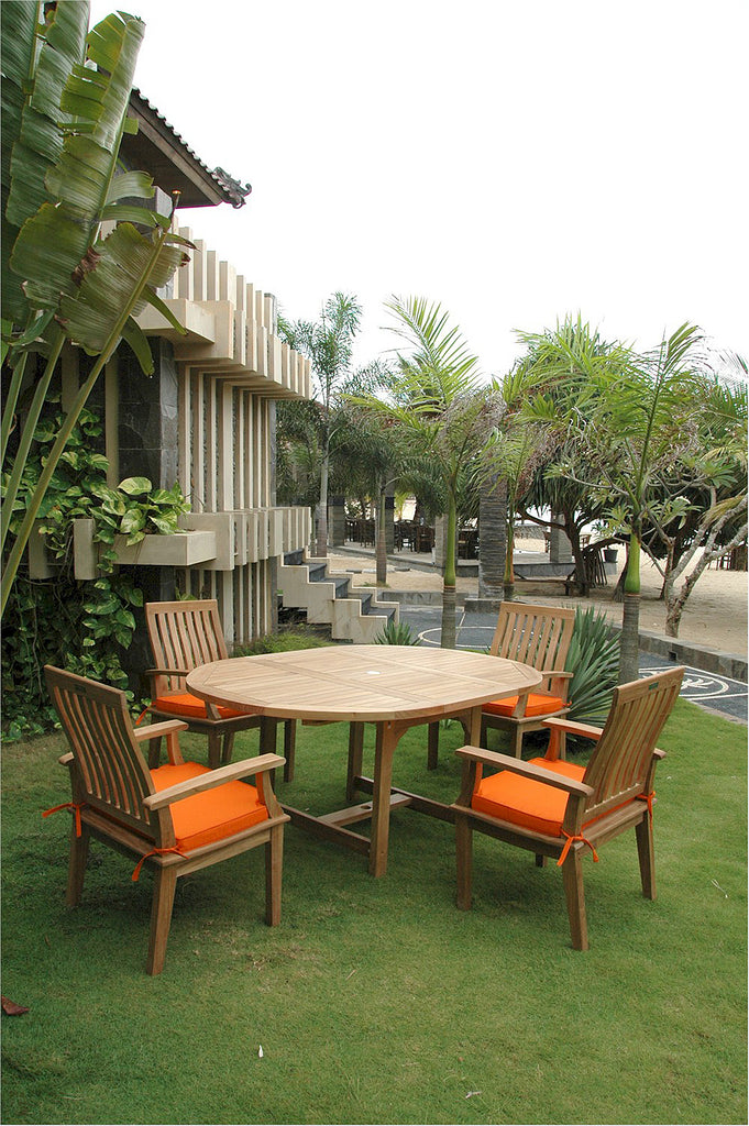 "Anderson Teak | 67"" Extension Teak Table & 4 Armchair Set 