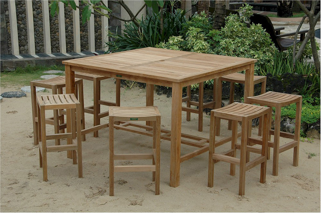 Anderson Teak | Windsor 59 Square Teak Bar Table & 8 Bar Stools |SET-120 -  Furniture - Teakwood Central