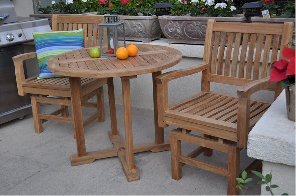 "Anderson Teak | Rocker Armchairs & 35"" Round Table 3-Piece Bistro Set 