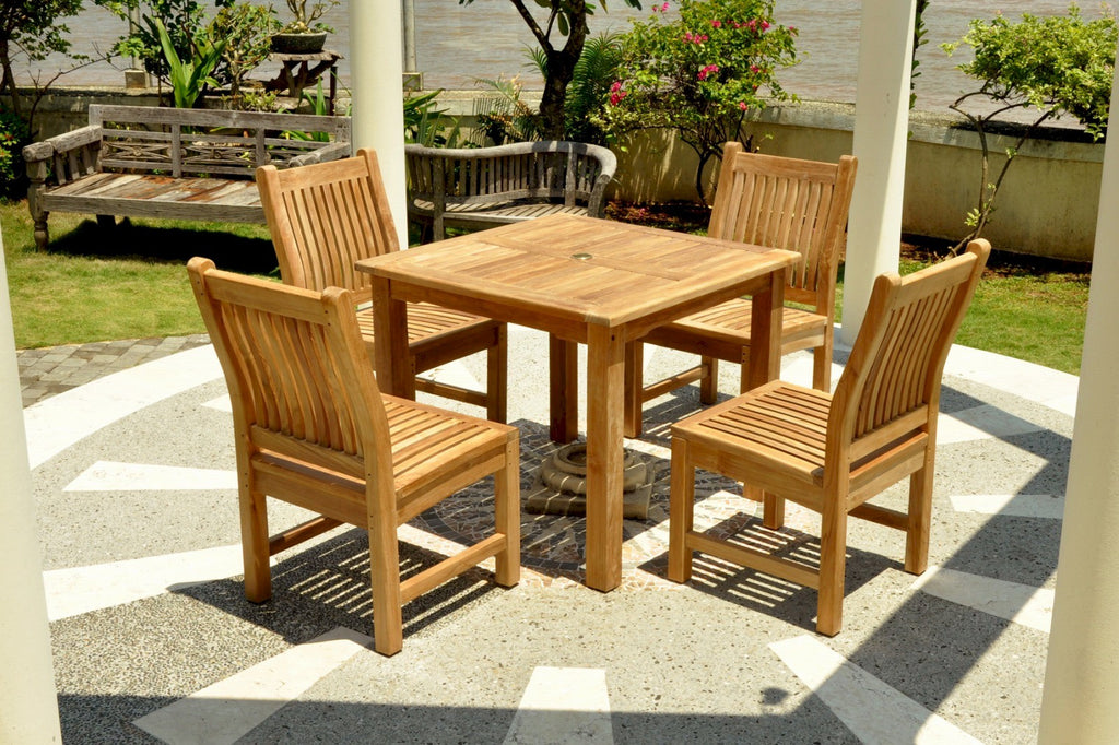 "Anderson | Bahama 35"" Square Table + 4 Sahara Dining Armchairs 