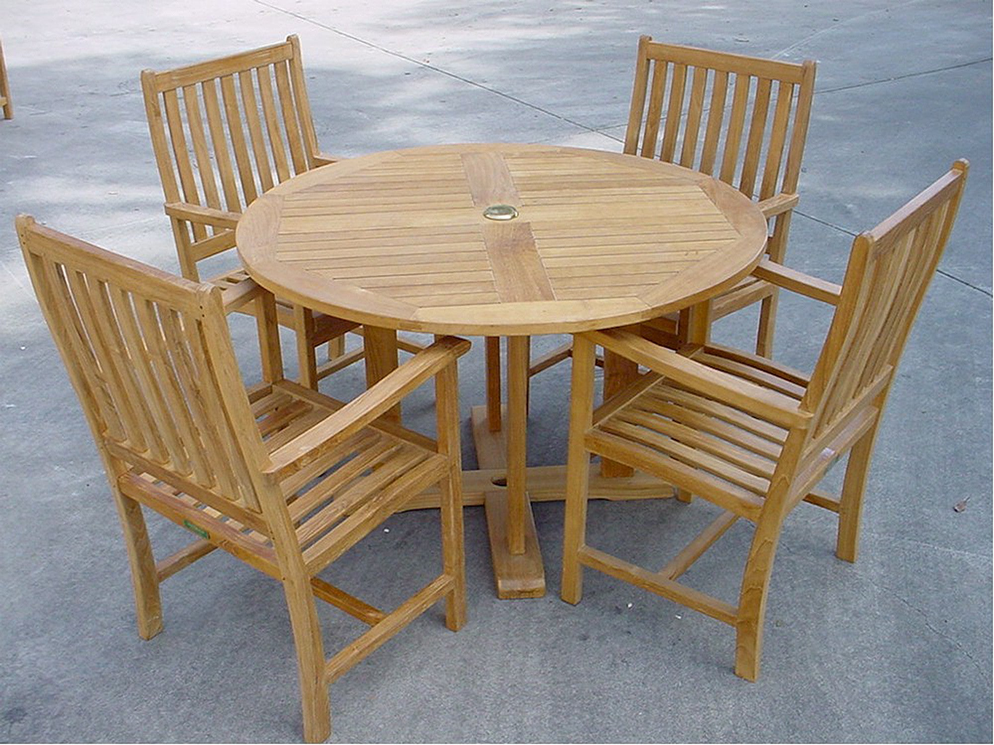 Round Table Patio Dining Sets.Anderson Teak 5 Piece Round Table Teak Patio Dining Set Set 16