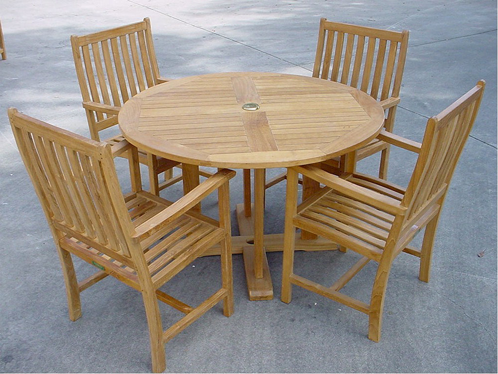 Anderson Teak | 5 Piece Round Table Teak Patio Dining Set |SET-16 -  Furniture - Teakwood Central
