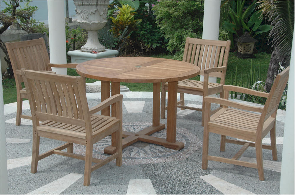 "Anderson Teak | 47"" Round Table & 4 Dining Armchairs 