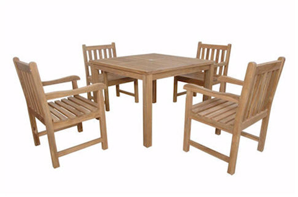 "Anderson Teak | Montage 42"" Square Table w/ 4 Dining Armchairs by Chapman 