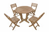 "Anderson Teak | Descano 35"" Round Table & 4 Folding Chairs Bistro Set 