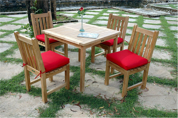 "Anderson Teak | Bahama 35"" Square Teak Table/Classic Chair Set 