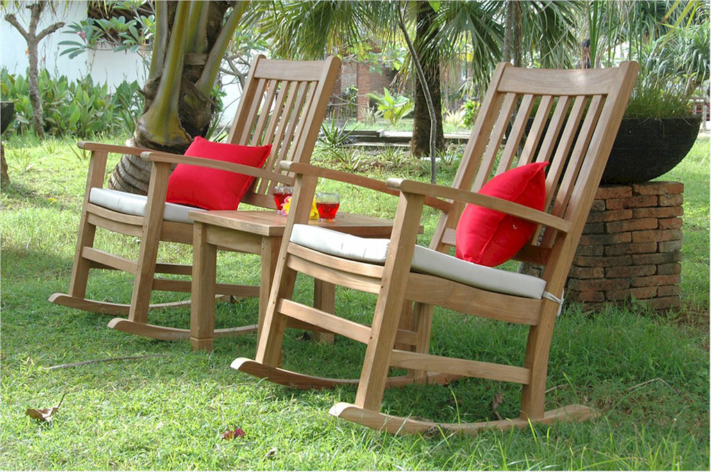 Anderson Teak | Set of 2 Rocking Teak Armchairs w/ Side Table |SET-270 -  Furniture - Teakwood Central