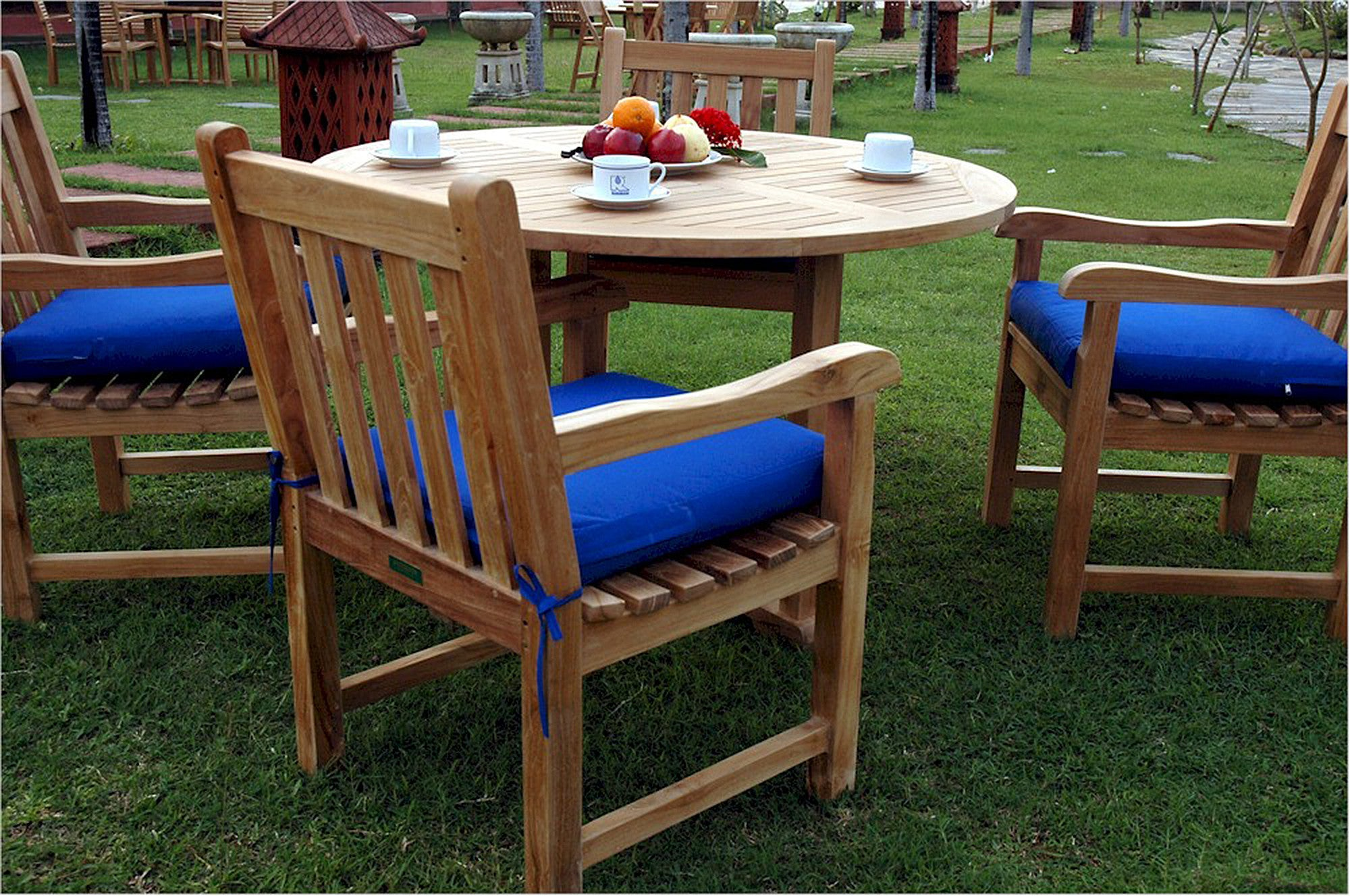 Anderson Tosca Round Table Classic Chairs Teak Patio Set Teakwood Central