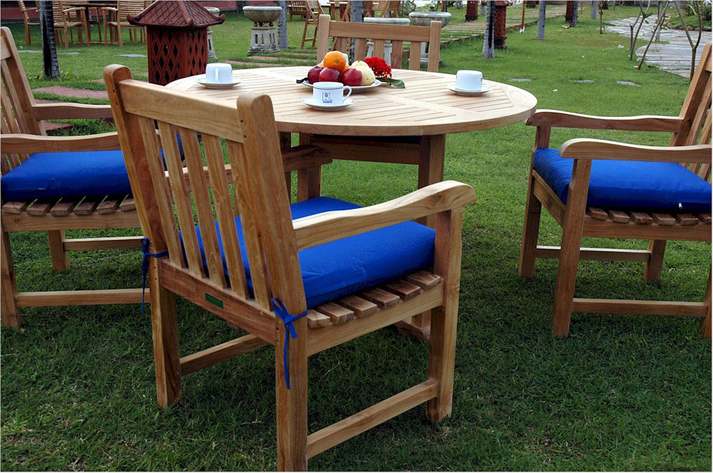 Anderson Teak | Tosca Round Table w.4 Classic Chairs Teak Dining Set |SET-27 -  Furniture - Teakwood Central