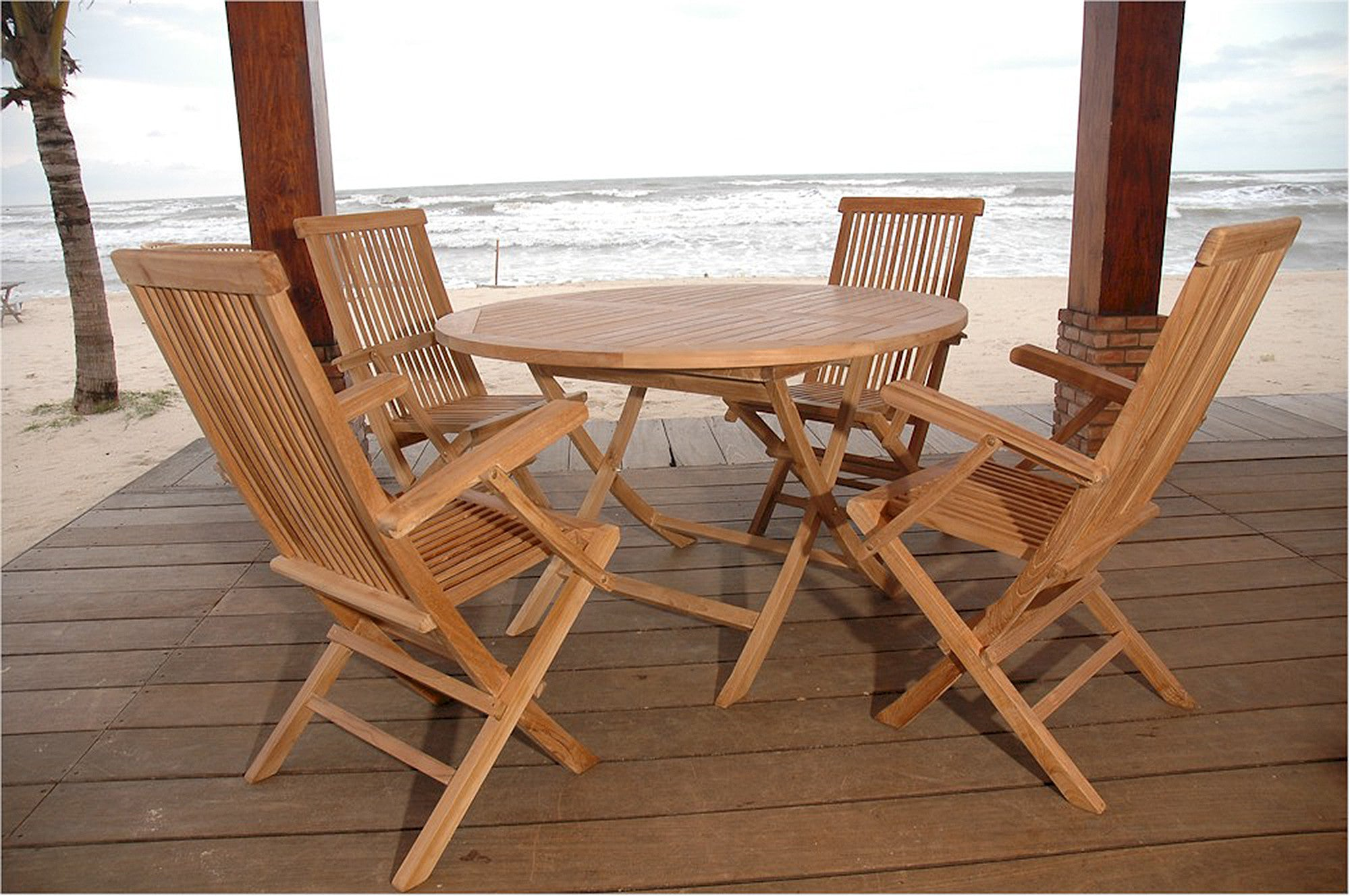 Anderson Round Folding Teak Table Classic Chair Set Bahama Set