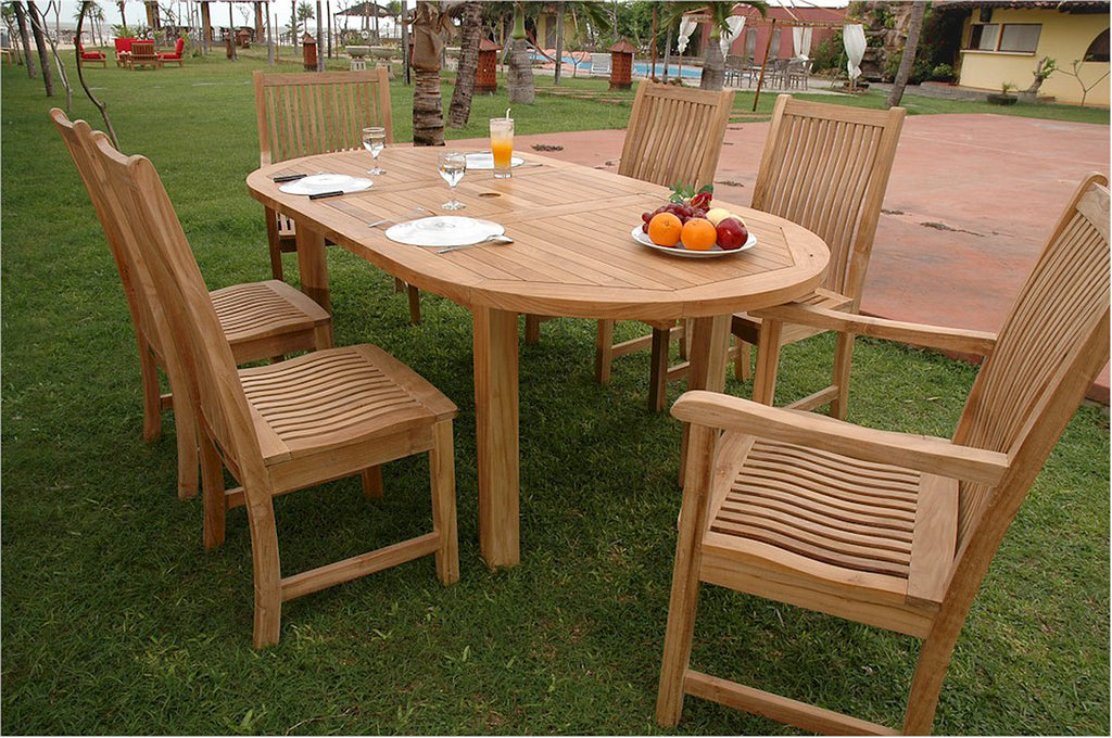 Anderson Teak | Oval Extension Teak Table W.6 Chicago Chairs Dining Set |SET-29 -  Furniture - Teakwood Central