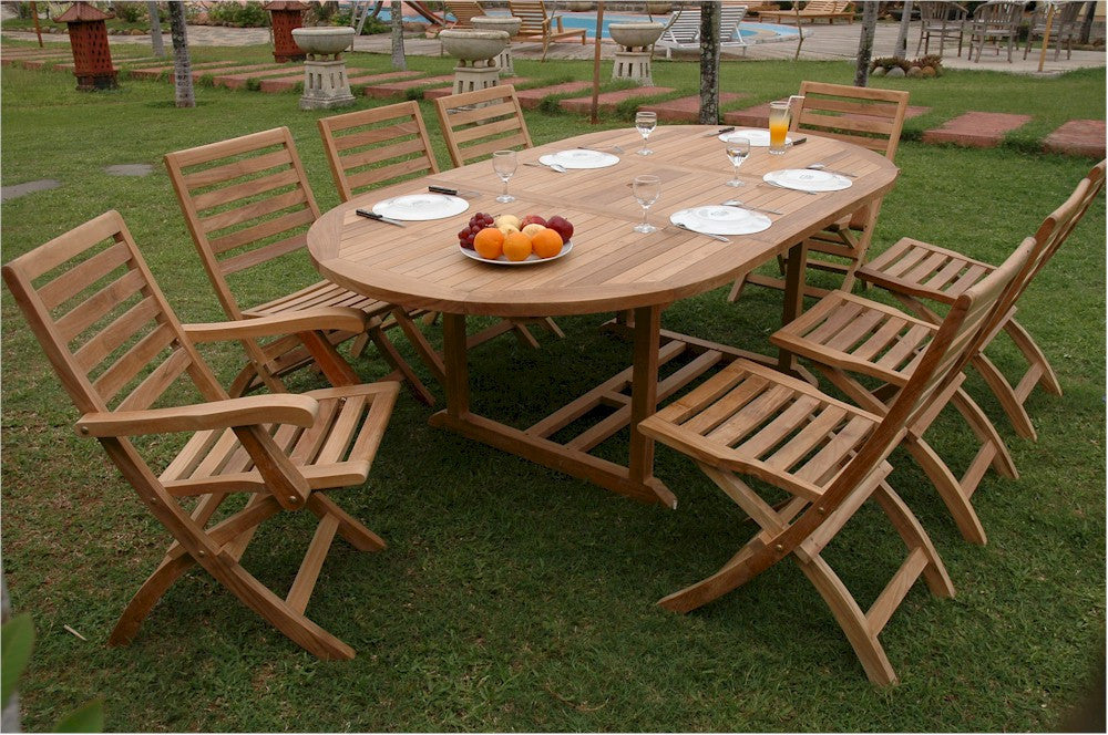 "Anderson Teak | 87"" Oval Extension Table w/ Folding Chairs Set 
