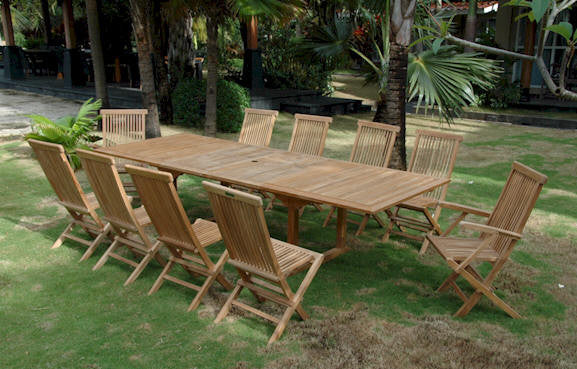 Anderson Teak | 13 pc. Valencia Table & Classic Chair Teak Set |SET-32A -  Furniture - Teakwood Central