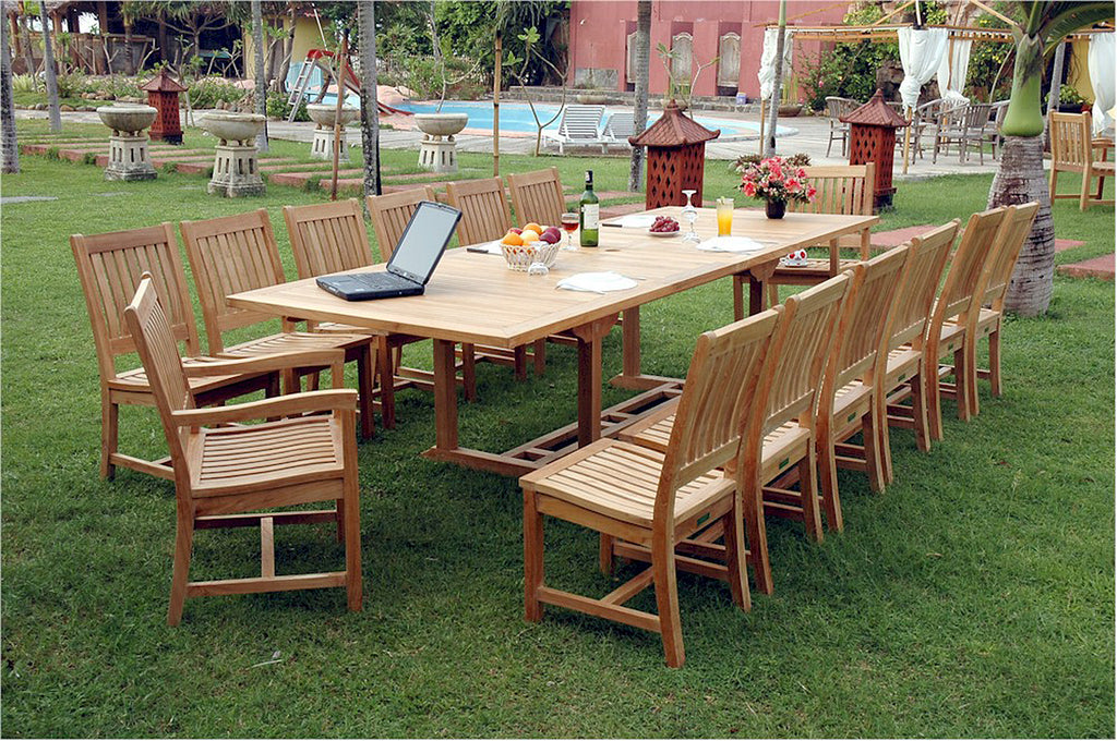 Anderson Teak | 15 Piece Valencia Double Extension Teak Dining Set |SET-33 -  Furniture - Teakwood Central