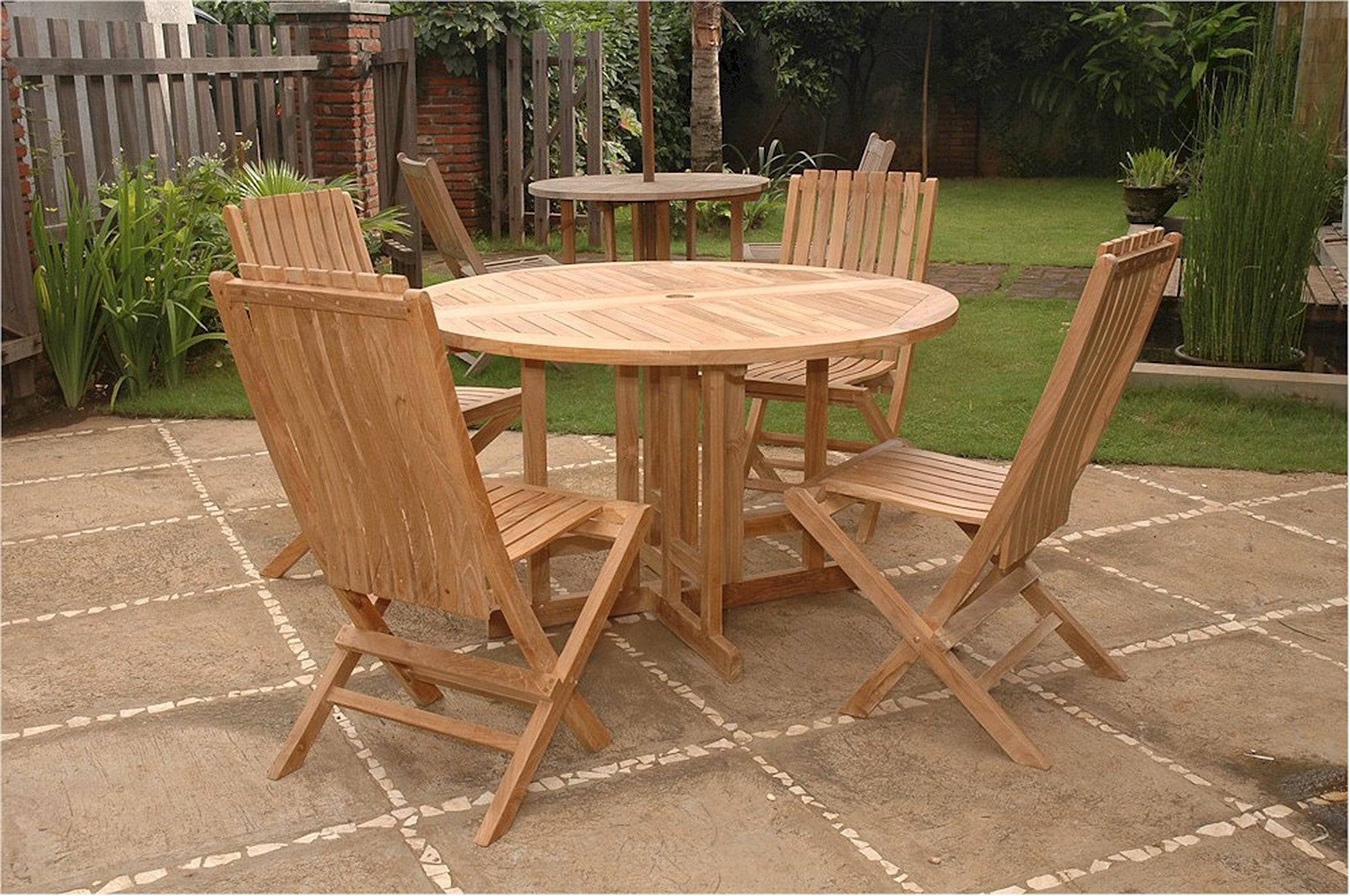 Anderson Round Butterfly Teak Folding Table Comfort Chair Set 34 Teakwood Central