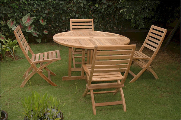 Anderson Teak | 5-Piece Round Table Teak Patio Dining Set |SET-35 -  Furniture - Teakwood Central