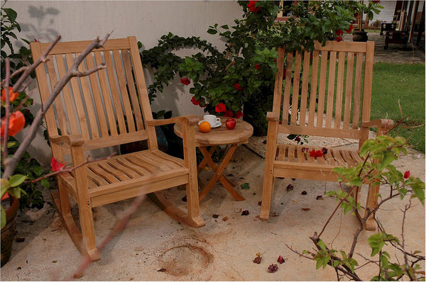 Anderson Teak | Outdoor Teak Wood Rocking Chair 3 pc-set w/ Round Table |SET-47 -  Furniture - Teakwood Central