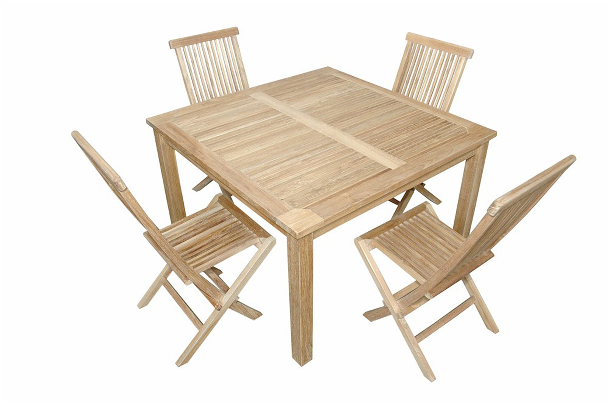 Anderson 47 Square Dining Table W 4 Folding Chairs Set 62 Teakwood Central