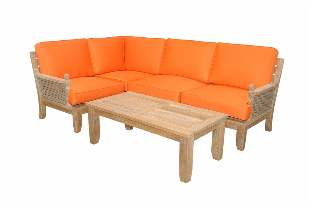 Luxe Modular Deep Seating 5 pc Set w/Cushion Color Choice  |SET-71 -  Furniture - Teakwood Central