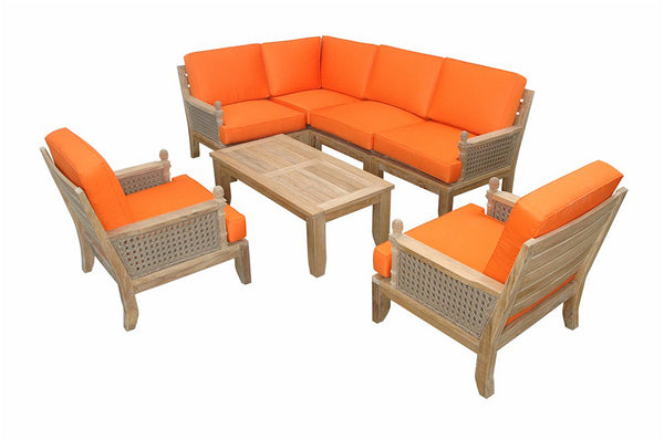 Luxe Modular Deep Seating 7 pc Set w/Cushion Color Choice |SET-73 -  Furniture - Teakwood Central
