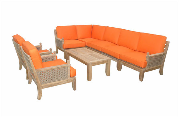 Luxe Modular Deep Seating 8 pc Set w/Cushion Color Choice |SET-74 -  Furniture - Teakwood Central
