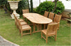 "Anderson Teak | 106"" Oval Double Extension Table w/ 8 Dining Chairs 