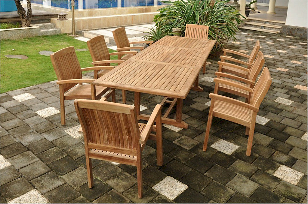 "Anderson Teak | 118"" Rect. Ext. Table w/ 8 Stacking Armchairs 