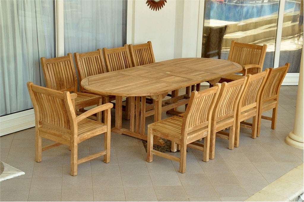 "Anderson Teak | Sahara 118"" Oval Dining Set 