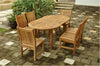 "Anderson Teak | 79"" Oval Extension Table w/ 6 Dining Side Chairs 