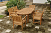 "Anderson Teak | 79"" Oval Extension Table w/ 6 Dining Armchairs 