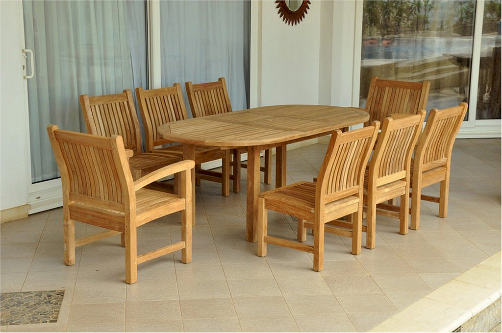 "Anderson Teak | 79"" Oval Extension Table with 2 Armchairs & 6 Dining Chairs 