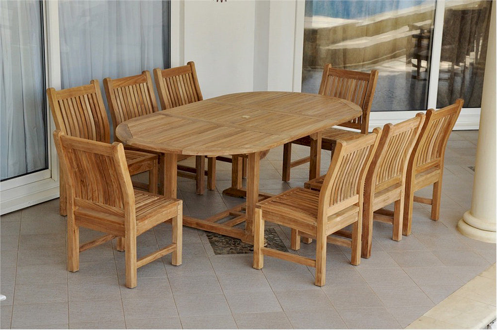 "Anderson Teak | 87"" Oval Extension Table with 8 Dining Chairs 