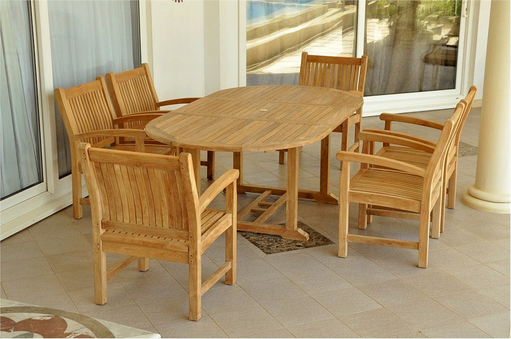 "Anderson Teak | 87"" Oval Extension Table w/ 6 Dining Armchairs 