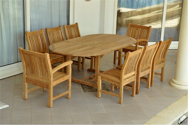 "Anderson Teak | 87"" Oval Extension Table w/ 8 Chairs 